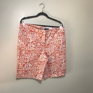 Cute Talbots Orange & White Shorts - Size 12